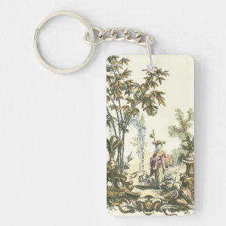 Asian Garden with Woman and Animals Acrylic Keychains