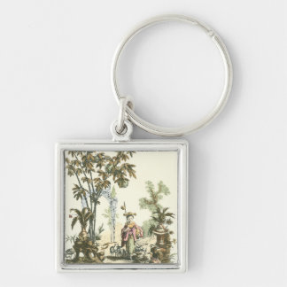 Asian Garden with Woman and Animals Keychains