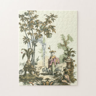Asian Garden with Woman and Animals Jigsaw Puzzles