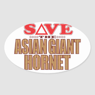Asian Giant Hornet Save Oval Sticker