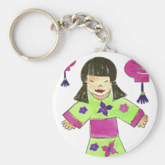 Asian Girl and Paper Lanterns Keychain