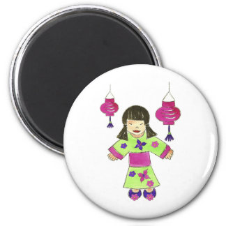 Asian Girl and Paper Lanterns Magnet