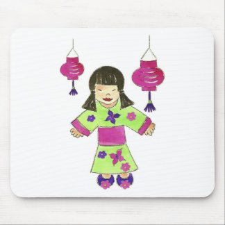 Asian Girl and Paper Lanterns Mouse Pad