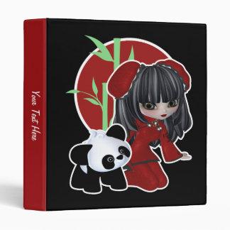 Asian Girl and Pet Panda 3 Ring Binder