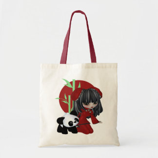 Asian Girl and Pet Panda Tote Bag
