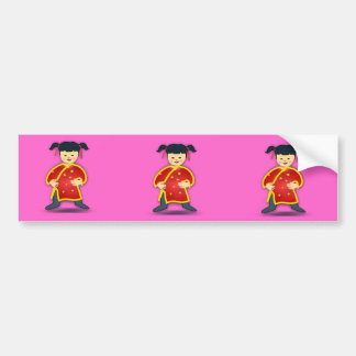 Asian Girl in Traditional Chinese Clothing Cartoon Bumper Sticker