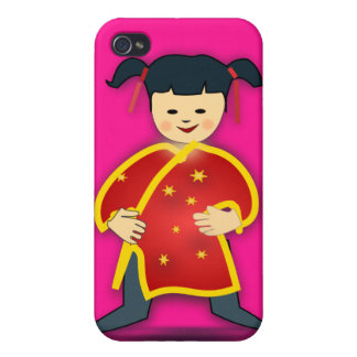 Asian Girl in Traditional Chinese Clothing Cartoon Cover For iPhone 4