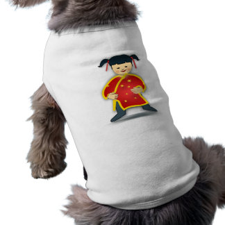 Asian Girl in Traditional Chinese Clothing Cartoon Doggie T Shirt