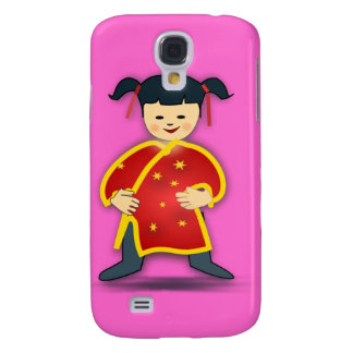 Asian Girl in Traditional Chinese Clothing Cartoon Galaxy S4 Cover