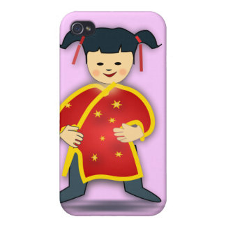 Asian Girl in Traditional Chinese Clothing Cartoon iPhone 4 Covers