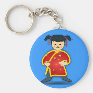 Asian Girl in Traditional Chinese Clothing Cartoon Keychain