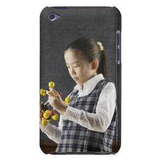Asian girl looking at molecule model Case-Mate iPod touch case