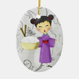 Asian Girl - SRF Double-Sided Oval Ceramic Christmas Ornament