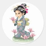 Asian Girl Sticker Round Stickers