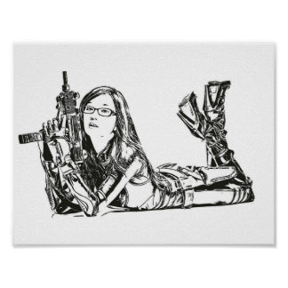Asian Girl with Weapon Gun Painting Drawing Sketch Poster