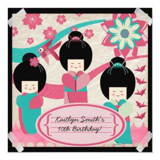 "Asian Girls Birthday Invitation 5.25"" Square Invitation Card"