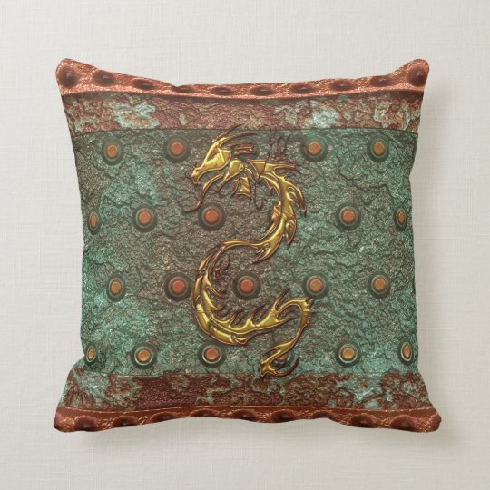 Asian Gold Dragon on Corroded Metal-look Pillow