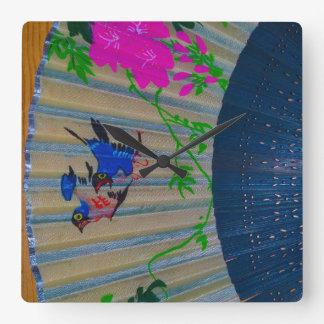 Asian Hand Fan on Wooden Background Square Wall Clock