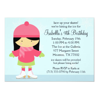 Asian Ice Skating Birthday Party Custom Announcements