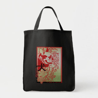 Asian Inspired French Bulldog Illustration Canvas Bags
