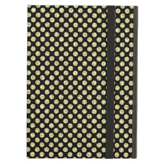 Asian Inspired Gold Glitter Dots on Black iPad Air Cases