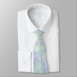 Asian-Inspired Pastel Irises on Blue Neck Tie