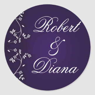 Asian inspired plum design classic round sticker