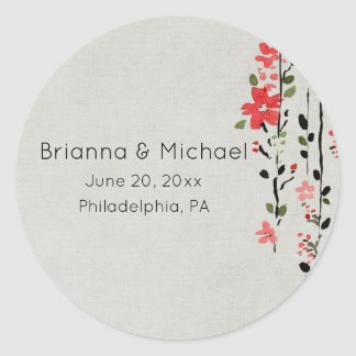 Asian-Inspired Red Floral Wedding Sticker