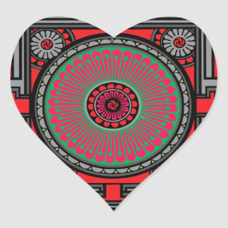 Asian Inspired Red Mandala Heart Sticker