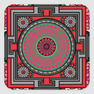 Asian Inspired Red Mandala Square Sticker