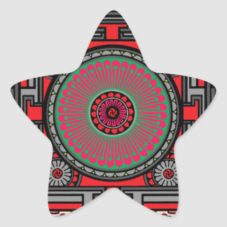 Asian Inspired Red Mandala Star Sticker