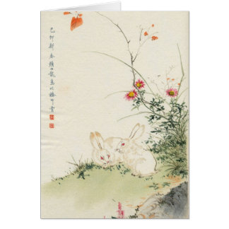 Asian Inspired Vintage Cards - Rabbits