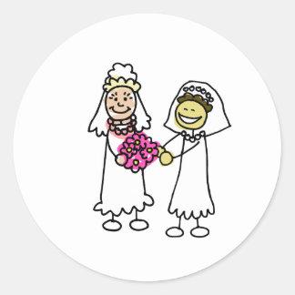 Asian interracial Lesbian Wedding Bride Classic Round Sticker