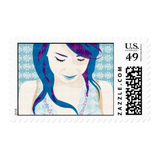Asian Lady With Blue Hair Postage