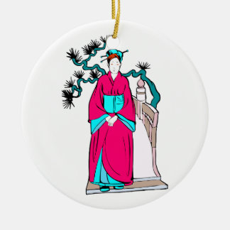 Asian lady with bonsai tree behind her Double-Sided ceramic round christmas ornament