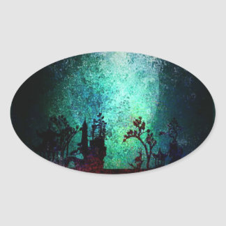 Asian Landscape Collection Oval Sticker