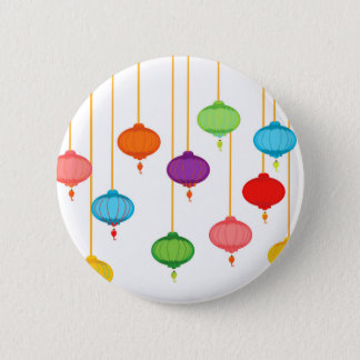 asian lanterns pinback button