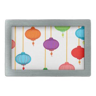 asian lanterns rectangular belt buckle