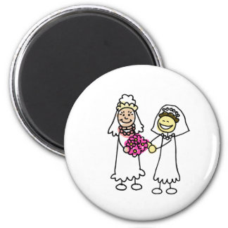 Asian Lesbian Wedding Brides 2 Inch Round Magnet