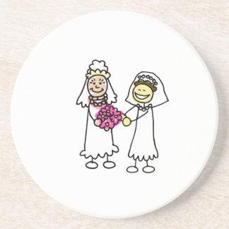 Asian Lesbian Wedding Brides Beverage Coasters