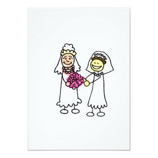 Asian Lesbian Wedding Brides 5x7 Paper Invitation Card