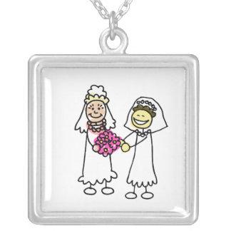 Asian Lesbian Wedding Brides Square Pendant Necklace