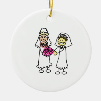 Asian Lesbian Wedding Brides Double-Sided Ceramic Round Christmas Ornament