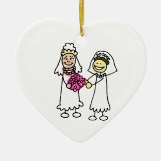 Asian Lesbian Wedding Brides Double-Sided Heart Ceramic Christmas Ornament