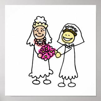 Asian Lesbian Wedding Brides Poster
