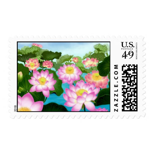 Asian Lotus Flowers Postage Stamps
