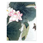 Asian Lotus Leaf Pink Flower Butterfly Art Cool Postcard