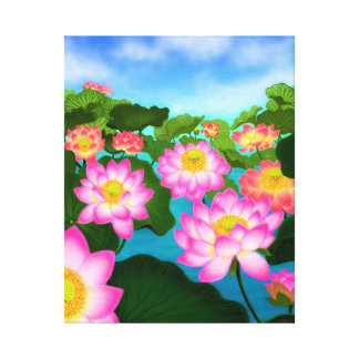 Asian Lotus Waterlily Garden Wrapped Canvas