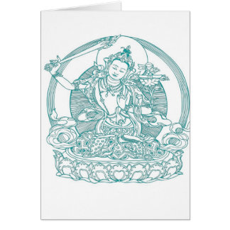 Asian Maiden Sitting On Lotus Flower Card