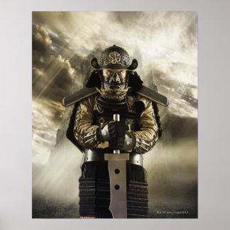 Asian man in samurai armor poster